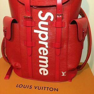 Authentic L.V X Supreme Backpack In Red leather